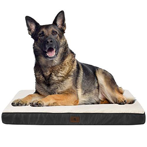 Juskys Hundebett Milow orthopädisch – 112 x 81 x 8 cm - Bezug abnehmbar & waschbar – Hundekissen große Hunde – Hundematte Hundesofa – Grau