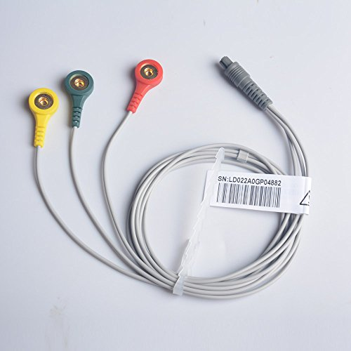 Prince 180 series 3-Lead ECG Cable with 3 port connector - suitable for 180-A and 180-B Monitors by Heal Force