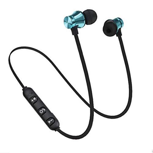 Funnyrunstore Headphone XT11 Auriculares inalámbricos Deportivos Auriculares estéreo Inteligentes magnéticos Auriculares Impermeables para Todos los teléfonos Inteligentes Azul