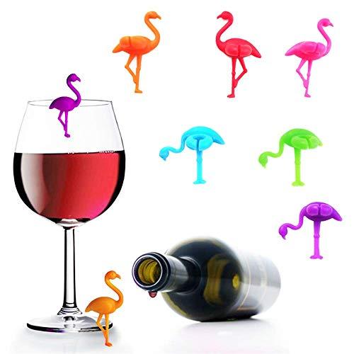 Gwolf Glasmarkierer Silikon, Glas Markierung, Getränk Marker Weinglas Marker, Glasmarkierer Drink Wings, Weinglasmarkierer, Glasmarkierung ideal geeignet für Anlässe, Partys und Feiern, 6 Farben