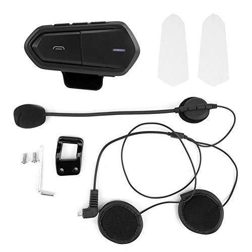 KIMISS Cascos Auriculares Inalámbrico Bluetooth Moto Intercomunicador Casco Auriculares Casco BT Altavoz Negro para Moto de Motor