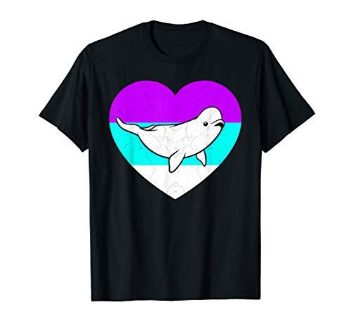 Beluga Whale Costume Retro Sea Love Theme Party Gift T-Shirt