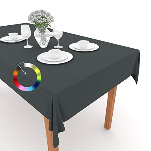 Rollmayer Tischdecke Tischtuch Tischläufer Tischwäsche Gastronomie Kollektion Vivid Uni einfarbig pflegeleicht waschbar (Grafit 33, 100x100cm)