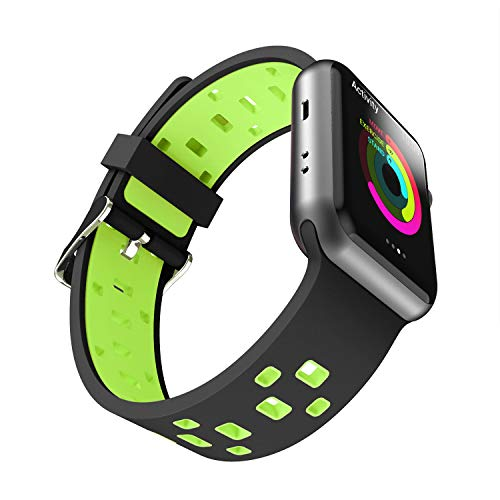 Chok Idea Band Compatible with Apple Watch Strap 42mm 44mm, Silicone Two-Tone Style Breathable Sport Strap Replacement for iWatch Apple Watch Series 4 Series 3 2 / 1, Black-Green