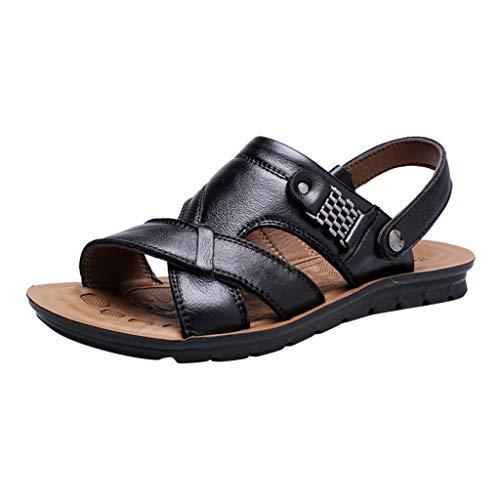 Sandalias Cuero Deportivas para Hombre Verano Exterior con Punta Abierta Sandalias de Playa Zapatillas de Exterior Montaña Senderismo Zapatos Playa Marrón Verde Café 2019
