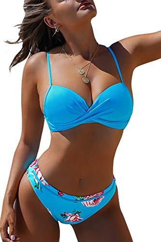 CUPSHE Damen Bikini Set mit Wickeloptik Push Up Bikini Bademode Blumenmuster Zweiteiliger Badeanzug Swimsuit Blau M