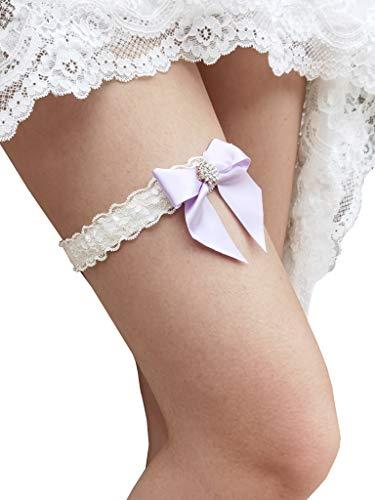Bridal Garter Wedding Bow Lace Garter for Bride Rhinestone S23 (Lavender)