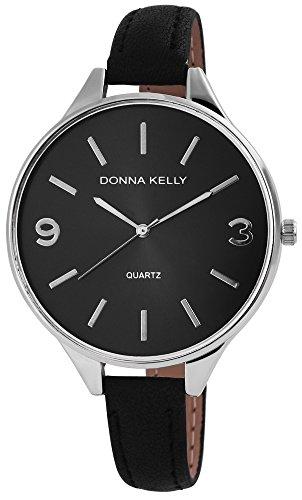 Donna Kelly Damen-Uhr Lederimitations Armbanduhr Silberfarbig Anlog Quarz