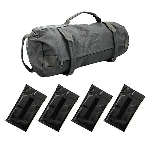 JASI Workout Sandbag for Strength and Fitness, Home Gym Workout Sandbag with 4 Filler Bags, Heavy Duty Exercise Sandbag, Weight Bag for Exercise (30 pounds max) (Black)