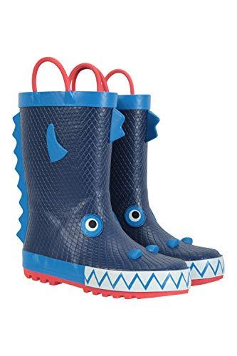 Mountain Warehouse Character Junior-/Kinder-Gummistiefel – wasserdichte Regenstiefel, robust, komfortabel, pflegeleicht, einfach Abwischen Kobalt Kinder-Schuhgröße 28 DE