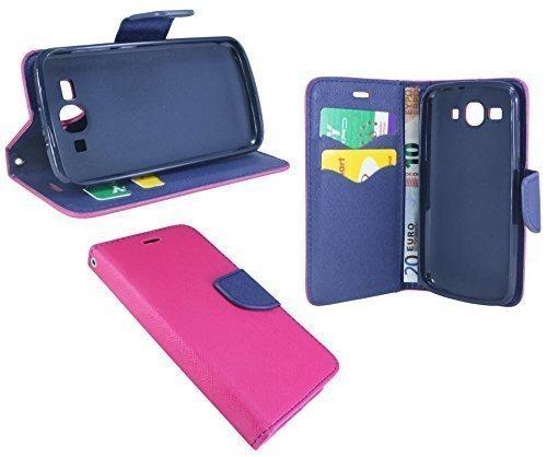 ENERGMiX Buchtasche kompatibel mit Huawei Ascend Y540 Hülle Hülle Tasche Wallet BookStyle mit Standfunktion in Pink-Blau (2-Farbig)