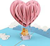 Valentinstag Karte, Bärchen in Heißluftballon, 3D Pop Up Karte, Valentinskarte für Sie & Ihn, als Geschenk zum Valentinstag, oder als Gutschein, Liebeskarte mit Herz, 'Ich liebe Dich' Karte