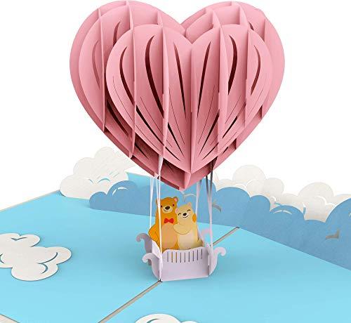 PrimePopUp | Liebeskarte | Bärchen in Heißluftballon | 3D Pop Up Karte | besondere Hochzeitskarte mit Herz | Geschenk für Freundin Freund | Geburtstagskarte Ich liebe Dich Karte für Sie & Ihn