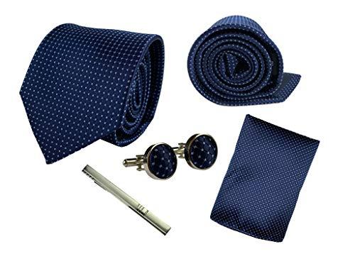 BUNCHERY & SONS Krawatte Set mit Einstecktuch, Klammer und Maschettenknöpfe in edler Geschenkbox dunkelblau gepunktet königsblau nachtblau marineblau navy blue