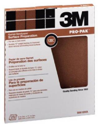 3M 88619 25-Count 9 X 11-Inch 120-Grit Garnet Sandpaper - Quantity 10 Sandpaper, Garnet -