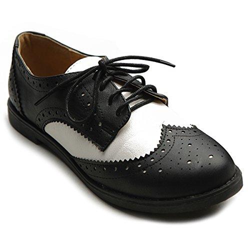 Ollio Women's Flat Shoe Wingtip Lace Up Two Tone Oxford M2913(7.5 B(M) US, Black)