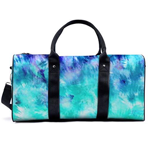 Bolsa de deporte para gimnasio, moderna bohemia, azul turquesa, con patrón de sirena, con estampado de teñido anudado, para yoga, bolsa de hombro, bolsa de viaje, bolsa de viaje para hombres y mujeres