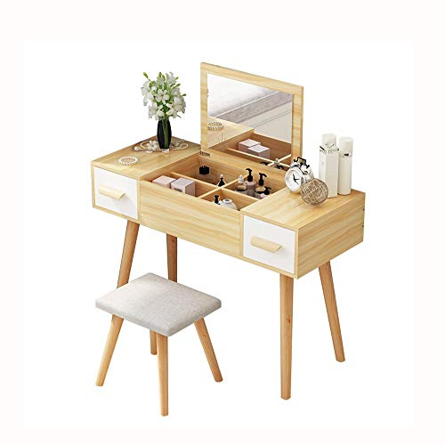 Buy HIZLJJ Makeup Vanity Vanity Table with Mirror Makeup Dressing Table Writing Desk with Cushioning...
