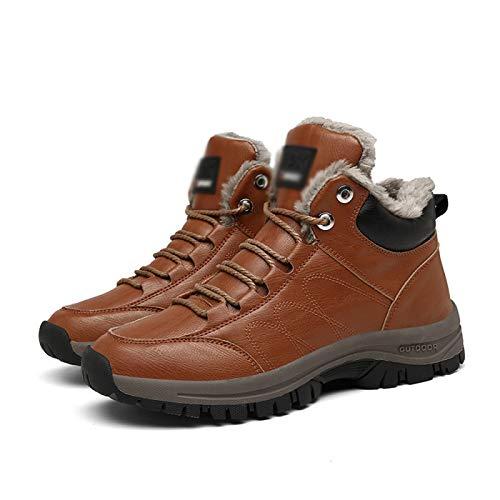 Botas De Nieve De Invierno Calzado De Senderismo para Hombre Zapatos Impermeables Cálido Felpa Caminar Trekking Botas con Cordones Acogedoras Raquetas De Nieve Antideslizantes,Brown-40