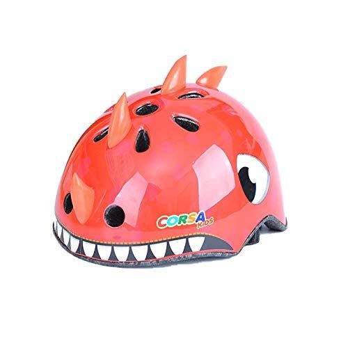 CURVEASSIST Cascos De Protección Infantil para Bicicletas Cascos para Montar Cascos Deportivos Dibujos Animados De Animales Patinaje sobre Ruedas Equipo De Protección Dinosaurio Rojo,Red-S