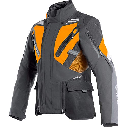 Dainese Motorradjacke mit Protektoren Motorrad Jacke Gran Turismo GTX Textiljacke schwarz/orange 62, Herren, Tourer, Ganzjährig