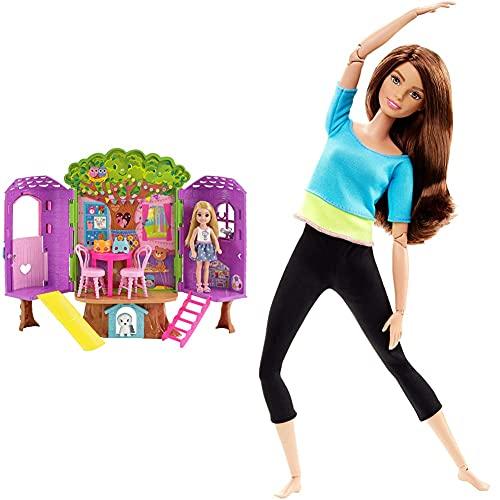 Barbie Chelsea, casa de muñecas Casita del Árbol, Juguete +3 años (Mattel FPF83) + Fashionista Made to Move Muñeca con Articulaciones Flexibles, Top Azul, Multicolor (Mattel DJY08)