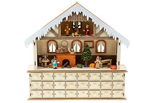 Clever Creations - Calendario de Adviento con Escena navideña - con cajoncitos para Cuenta atrás hasta Navidad - con Regalos, un Trineo, una Chimenea y Mucho más - 43 x 11,5 x 42cm
