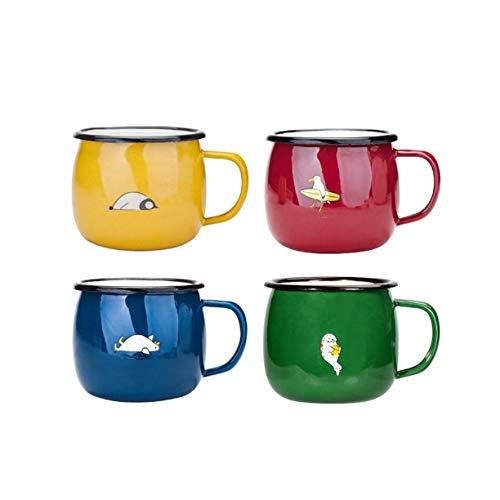 Kettle-HOT Kessel Geschenk-Wasser-Schal Gelb/Blau/Grün/Rot for Kinder und Erwachsene, Farbiger Emaille-Becher 0.43L, Geeignet for die Familie, Nette und lustigen Entwurf, sicheres Trinkwasser