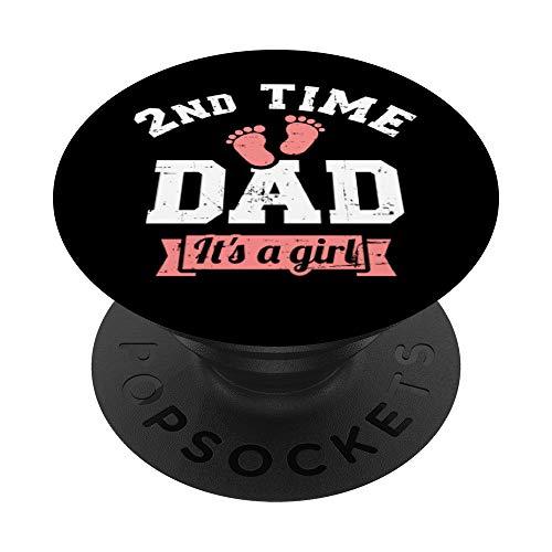 2ª vez Papá es una niña revelación de género PopSockets PopGrip: Agarre intercambiable para Teléfonos y Tabletas
