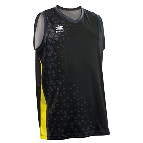 Luanvi Basket Cardiff Camiseta Deportiva sin Mangas de Baloncesto, Hombre, Negro/Amarillo, 4XL