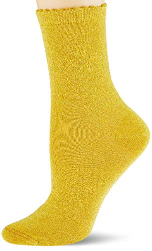 PIECES Damen PCSEBBY Glitter Long 1 Pack NOOS Socken, Nugget Gold, 36-38