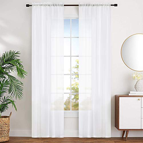 """MYSTIC-HOME Sheer Curtains White 95 Inches Long, Window Treatments Rod Pocket Drapes for Living Room, Bedroom, Semi Crinkle Voile Curtain Panels for Yard, Patio, Villa, Parlor, Set of 2, 52""""x95"""""""