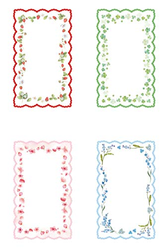Kamizuki メモ用紙 花 草 凸凹の印刷 付箋 粘着性がない一般メモ用紙 メモ素材紙 伝言 メモ帳 プレゼント 贈り物 学用品 オフィス用品 桜 苺 クローバー 青い花 20枚x4種類セット