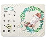 SAMGU Manta Mensual Bebe Franela Manta de Hito Accesorio de Fotografía para Recién Nacido Mamas Embarazadas y Regalo Baby Shower 70*102CM