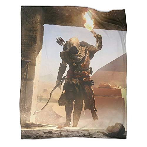 DRAGON VINES Assassin's Creed Origins Bayek Egipto Pirámide, pajarita explorar tumba, manta para estudiantes, manta decorativa para cama, 80 x 100 cm