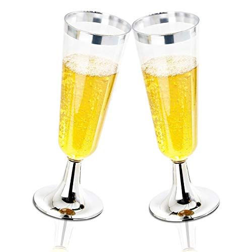 BUCLA 100 Pack Clear Plastic Champagne Flutes With Silver Rim- 5OZ Plastic Champagne Glasses- Premium Quality Clear Plastic Cups-Ideal for Parties& Weddings