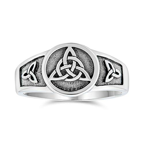 Viking Celtic Trinity Knot Triquetra Ring Signet Ring For Women For Men Oxidized 925 Sterling Silver