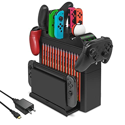 FYOUNG Charging Dock for Nintendo Switch Joy Cons, for Pro Controller and for Poke Ball Plus Controllers, Multi-Function Organizer and Switch Storage Rack Bracket Tower Holder Stand with Fast Charger