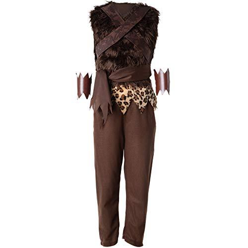 dressforfun 900571 - Disfraz de Muchacho Prehistórico para Chico, Pantalones Marrones y Chaleco (140 | No. 302746)