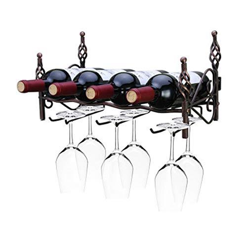 ASDZ Estante De Vino Montado En La Pared Estante De Almacenamiento De Vino con Soporte De Vidrio Tiene Capacidad para 4 Botellas 6 Glasse para El Hogar Bar Comedor Cocina Decorativa