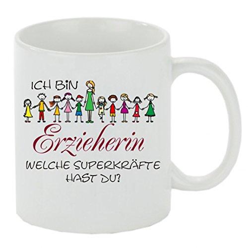 Creativ Deluxe Kaffeebecher Ich Bin Erzieherin und welche Superkräfte hast DU? Kaffeetasse, Kaffeetasse mit Motiv, bedr. Tasse mit Sprüchen o. Bildern - auch individuelle Gestaltung