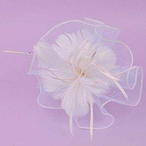 Cocktail cocktail cocktail broche voor bruid haarband kap veer mini tricot jurk hoed null Wit