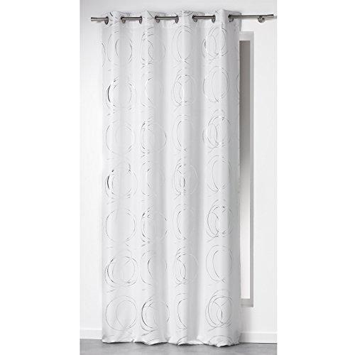 Douceur D'Intérieur - 1605085, Tenda Con Occhielli , 140 X 260 Cm , Bully , Poliestere Stampato Argento , Bianco