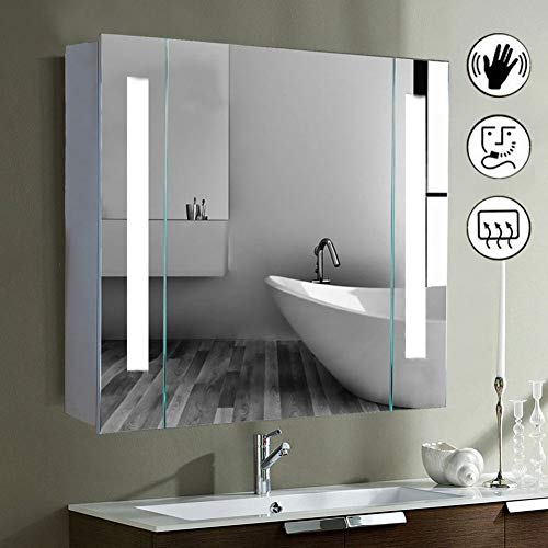 ISTYLIST 650mm(W) x 600mm(H) Led Illuminated Bathroom Mirror Cabinet with Demister Shaver Socket & Sensor Switch For Makeup Cosmetic Shaver Charging