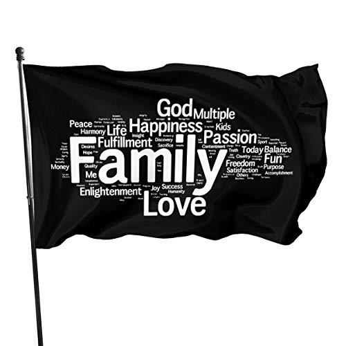 GYUB Palabras relacionadas con la Vida 3x5 pies American Us Polyester Flag - Color Vivo y Resistente a la decoloración UV - Encabezado de Lienzo