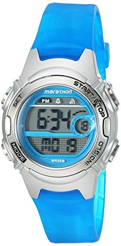 Marathon by Timex Women's TW5K96900 Digital Mid-Size Blue/Silver-Tone Resin Strap Watch