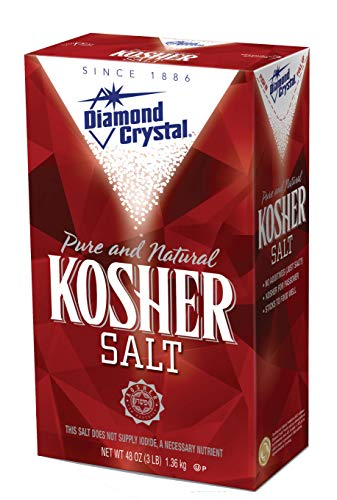 Diamond Crystal Kosher Salt – Full Flavor, No Additives and Less Sodium - Pure and Natural Since 1886 - 3 Pound Box