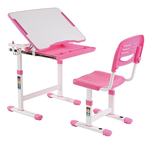 IDIMEX Kinderschreibtisch ALUMNO mit Stuhl und Schublade, Schreibtisch für Kinder und Schüler Schülerschreibtisch Set, höhenverstellbar,...