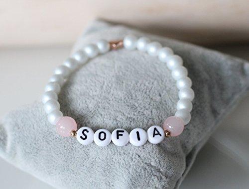 Namensarmband weiß perlmutt rosa Herz rosegold farben, personalisiert, Initialen, Buchstaben, individualisierbar, Geschenk