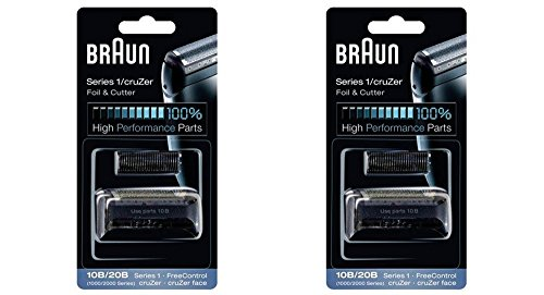 BRAUN 10B/20B 1000/2000 Series FreeControl Series 1 Shaver Foil and Cutter Head Replacement Pack, 2 Count